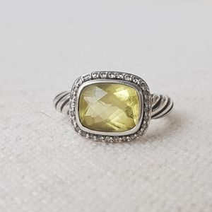 David Yurman Noblesse Lemon Citrine Diamond Ring